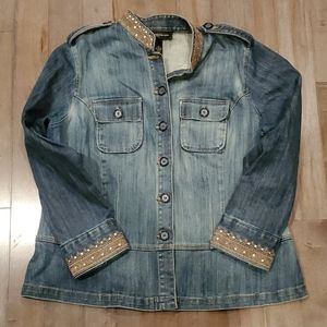 Denim Jacket with Embellished Collar and Sleeves
